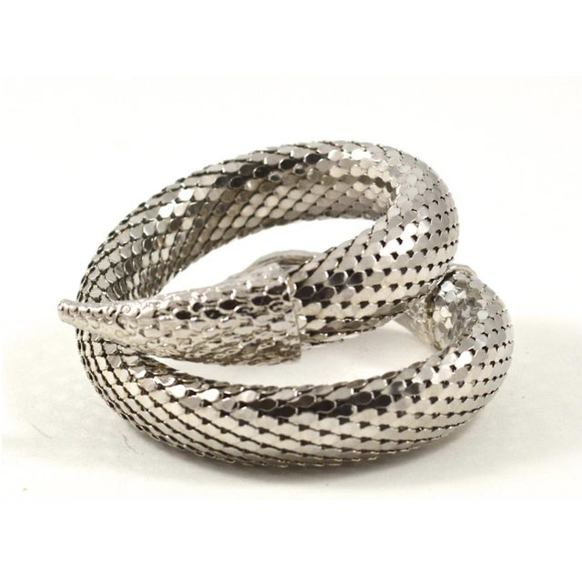 Art Nouveau Whiting & Davis Silver Mesh Snake Cuff For Sale - Image 3 of 4