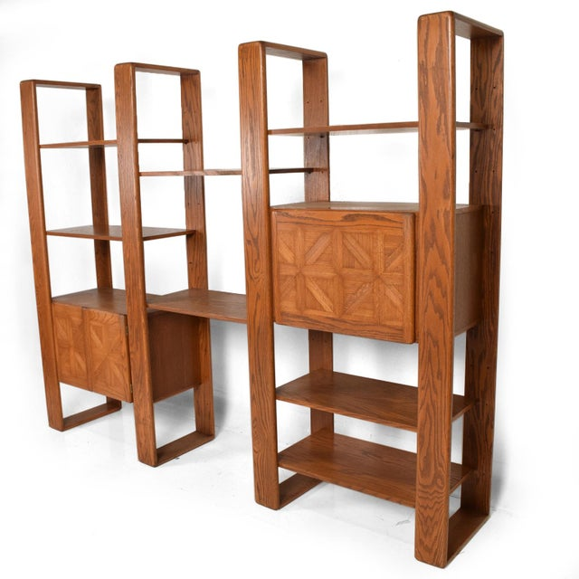 Mid Century Modern Solid Oak Wood Wall Unit by Lou Hodges For Sale - Image 11 of 11