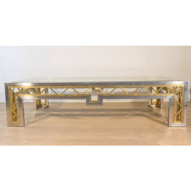 French 1970s Polished Steel and Brass Coffee Table with Glass Top - Image 2 of 8
