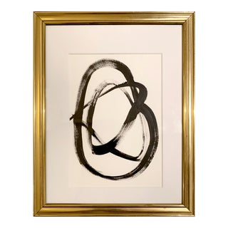Original Abstract Black and White Painting in Vintage Gold Frame For Sale