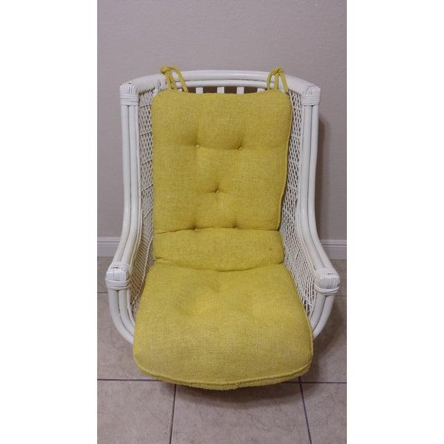 Modern Vintage Swivel Egg Rattan Chair For Sale - Image 3 of 9