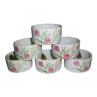 Mid-Century Shafford Herbs & Spices Fine Bone China Pink Chives Napkin Rings in Original Box - Set of 6