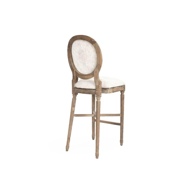 French Country Everest Medallion Cowhide Bar Stool in White For Sale - Image 3 of 3