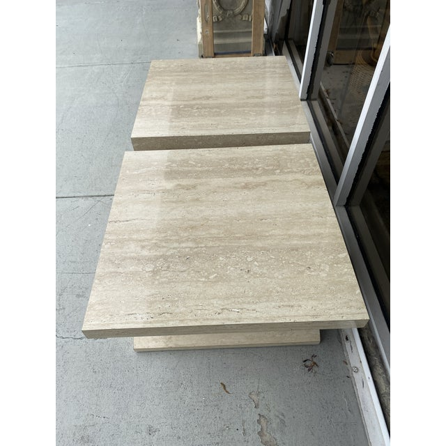 Faux Travertine Geometric Shapes Side Tables a Pair. For Sale - Image 9 of 13