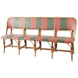 Image of French Maison Gatti Rattan Bamboo Banquette Bench For Sale