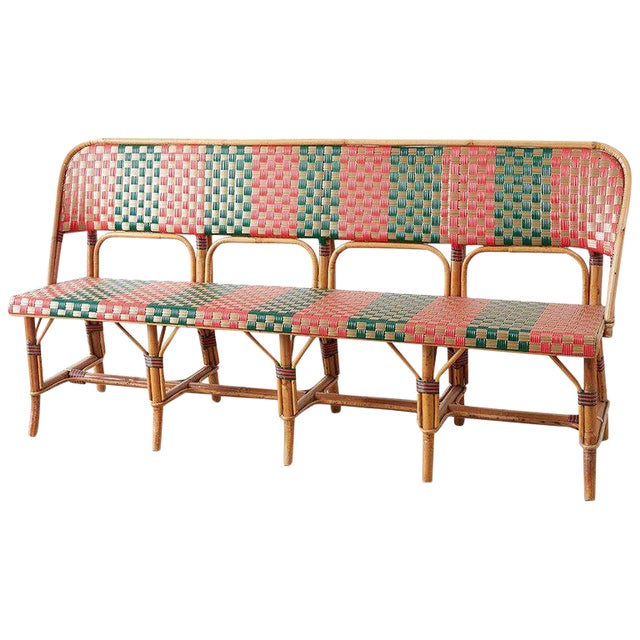 French Maison Gatti Rattan Bamboo Banquette Bench For Sale