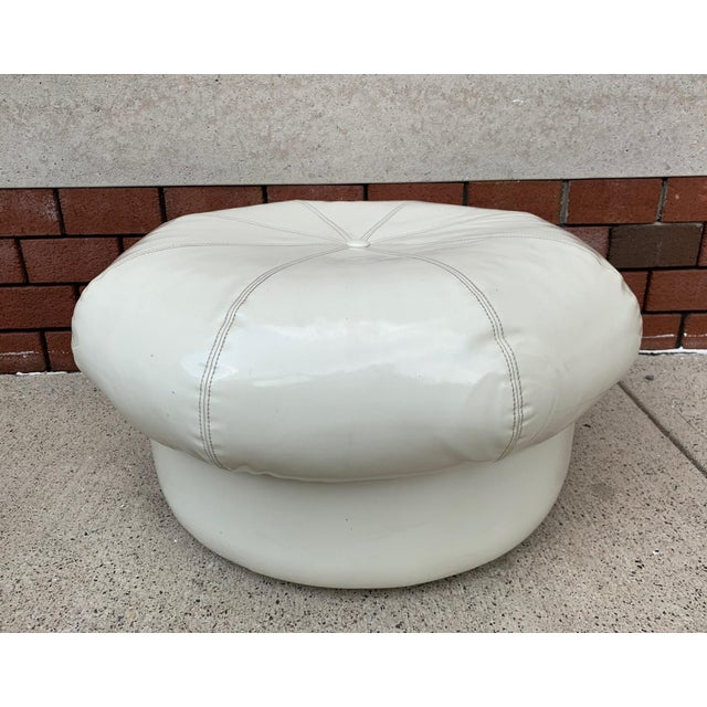Pair 1970s Vinyl Ottomans For Sale - Image 4 of 4