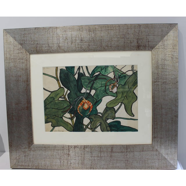 """Vintage Jane Peterson Watercolor Painting """"Spider Orchid"""" For Sale - Image 13 of 13"""