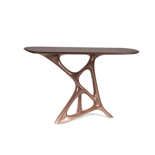 Contemporary Amorph Anika Console, Bronze Finish With Black Marble For Sale - Image 3 of 9