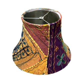 Vintage Bohemian Embroidered Lamp Shade For Sale