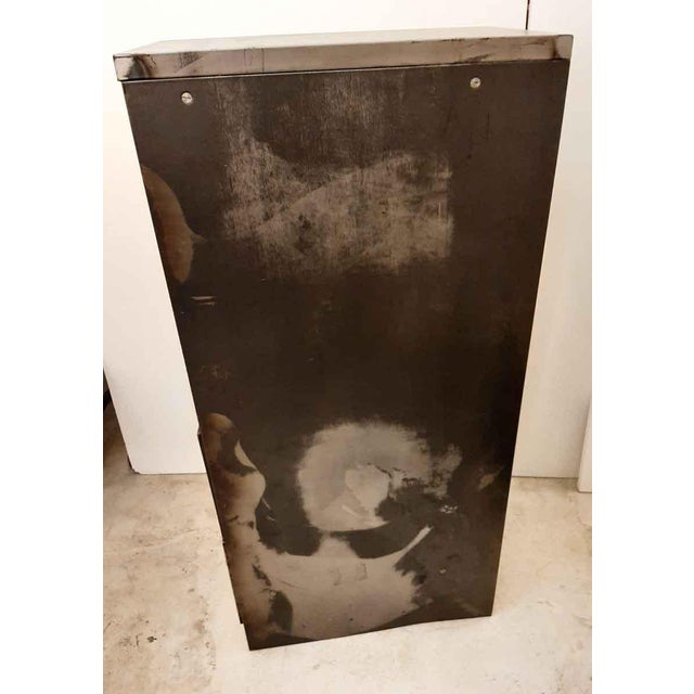 Late 20th Century Vintage Steel Filing Cabinet With Brass Handles For Sale - Image 4 of 7