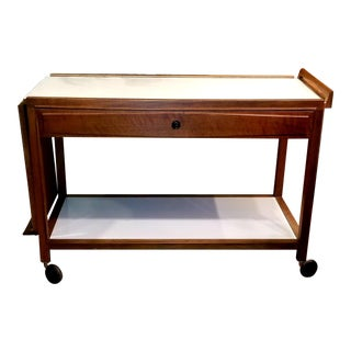 Glenn of California 1950's Mid-Century Modern Bar Cart in Walnut and White Laminate For Sale