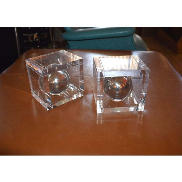 Pair of vintage Lucite bookends signed by Charles Hollis Jones.