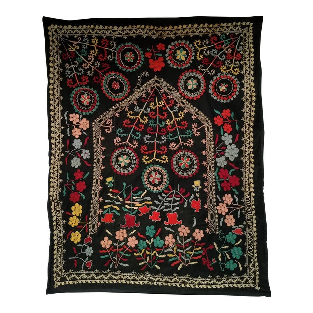 "Late 1800s Hand-Stitched Suzani- 3' X 5' 3"" For Sale"