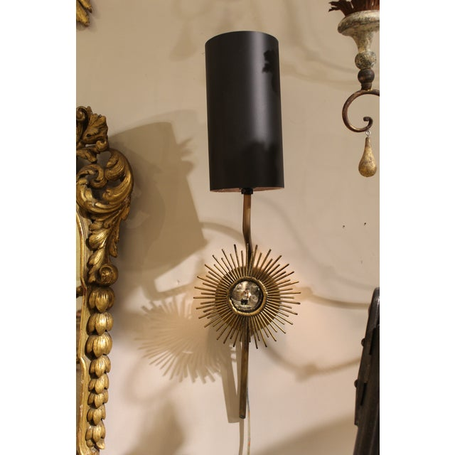 Brass Starburst Sconces - A Pair For Sale - Image 4 of 5