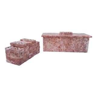 Vintage Pink Marble Domino Game Set For Sale