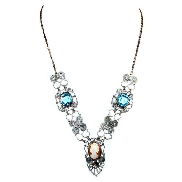 1930s Vintage Silver-Plated Filigree Cameo Necklace For Sale - Image 4 of 5