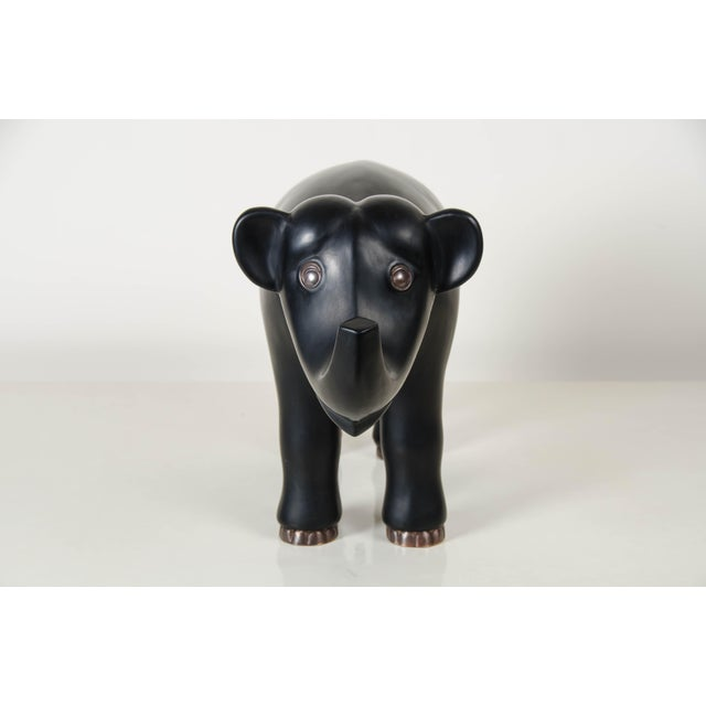 2010s Hand Repousse Black Lacquer Elephant by Robert Kuo, Limited Edition For Sale - Image 5 of 7