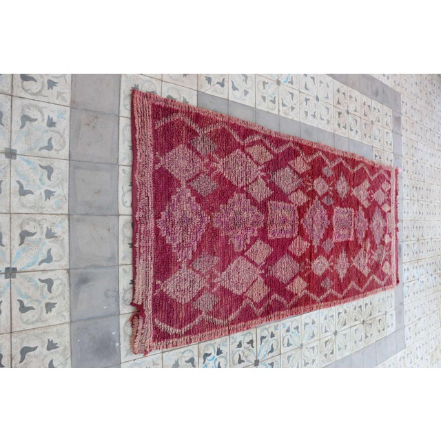 """Boho Chic Vintage Boujad Moroccan Rug - 3'7"""" x 8'6"""" For Sale - Image 3 of 4"""