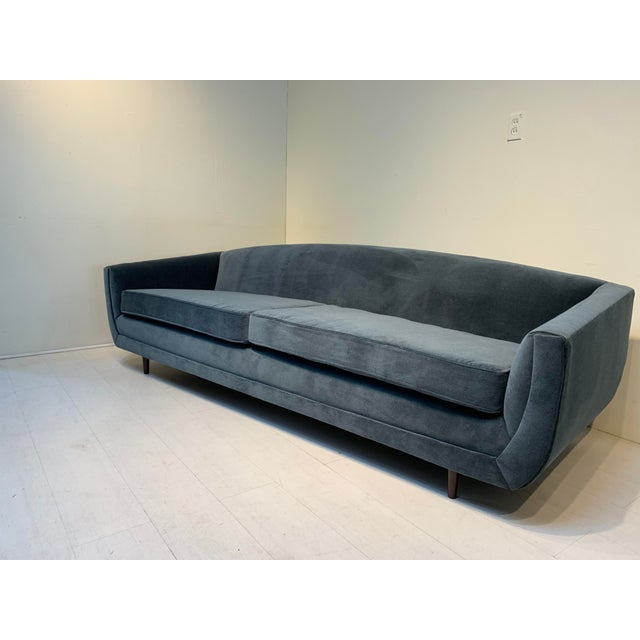 Mid-Century Modern Dusty Blue Grey Velvet Sofa