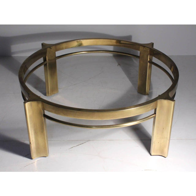 """Mastercraft brass coffee table. 37.75"""" is the diameter of the circle (outer) alone without legs included."""
