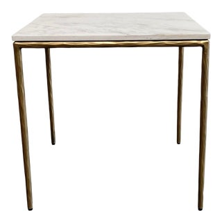 Modern Brass Finish Side Table With Marble Top For Sale