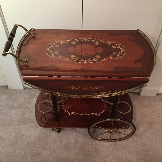 Genuine Italian Marquetry Drop Leaf Beverage Cart - Image 3 of 11