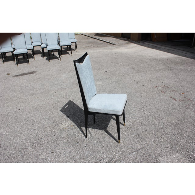 Monumental Set of 12 French Art Deco Dining Chairs, Circa 1940s For Sale - Image 9 of 13