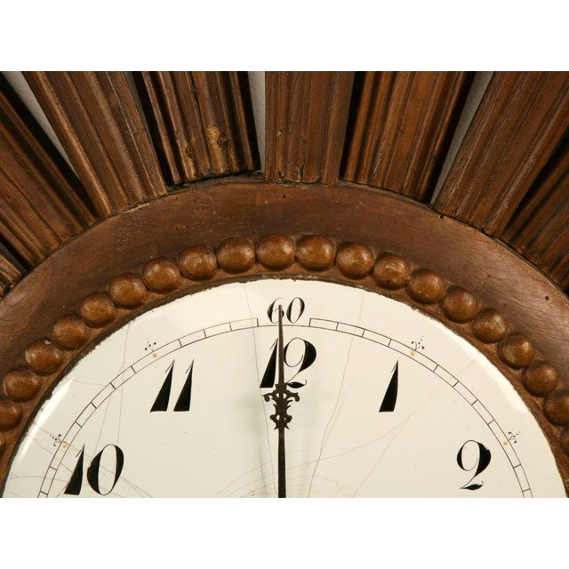Ceramic French Sunburst Clock with Porcelain Face For Sale - Image 7 of 11