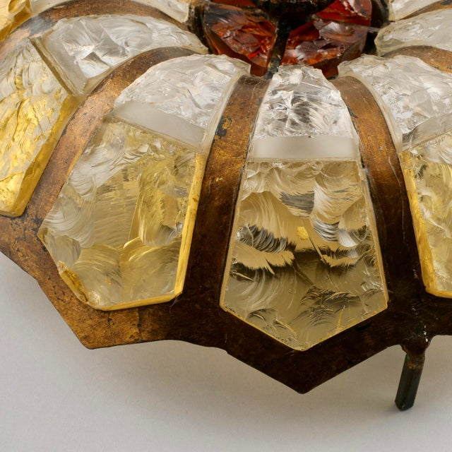Italian Italian Mottled Glass and Bronze Round Flush Mount Fixture For Sale - Image 3 of 7