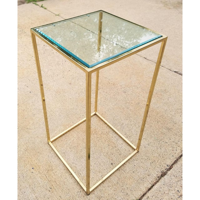 """This pedestal art stand after Milo Baughman for his """"Thin Line"""" collection/ Maison Jansen (style). Circa 1970."""