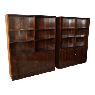 Pair of French Late Art Deco Ebony de Macassar Bookcase Cabinets, by Dominique For Sale