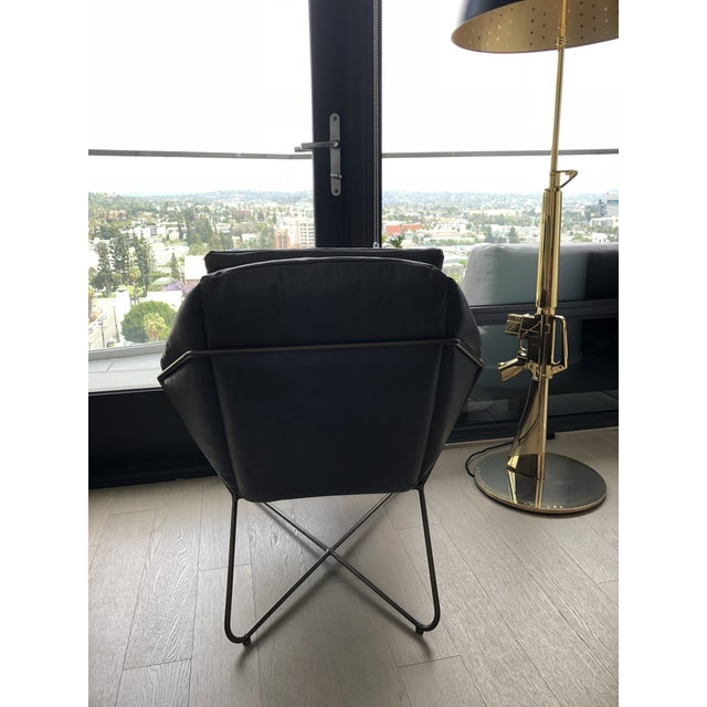 Minimalistic West Elm Origami Dark Gray Leather Lounge Chair