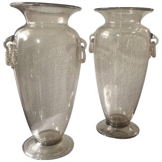 Champagne Tint Venetian Glass Vases - A Pair For Sale