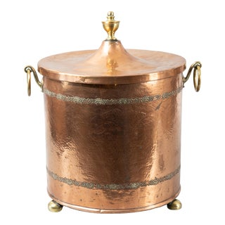 Antique English Hammered Copper & Brass Lidded Coal Bucket For Sale