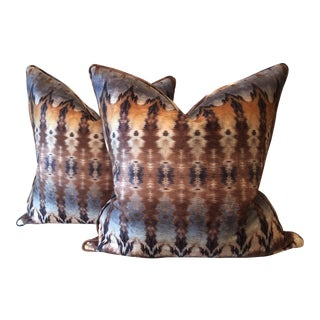 Ikat Printed Velvet Pillows - A Pair