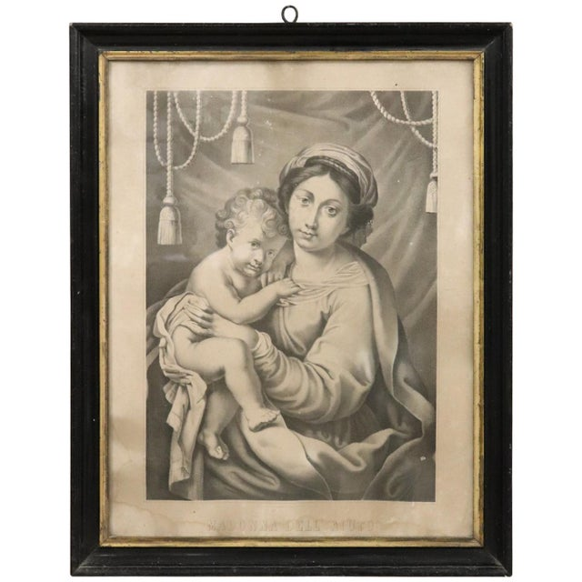 19th Century Italian Lithograph, Print Madonna With Jesus Child For Sale - Image 9 of 9