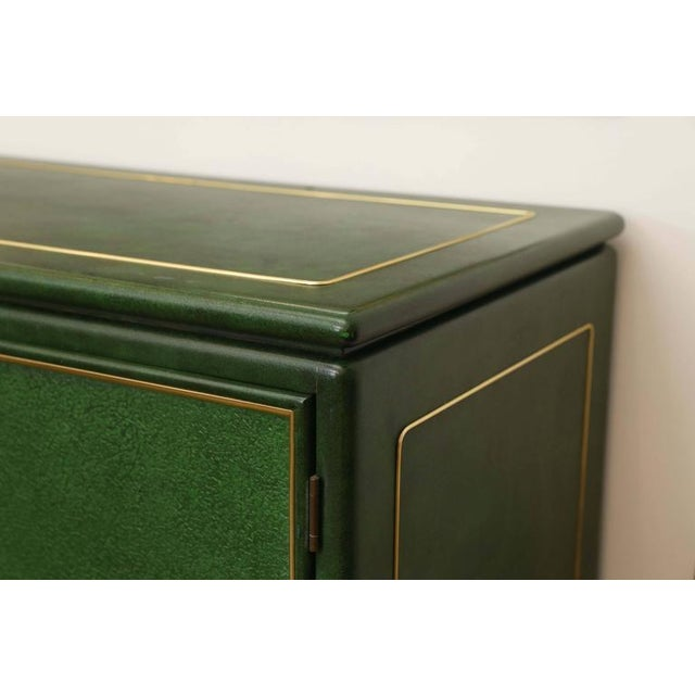 Signed Mastercraft Hollywood Glam Lacquered Brass and Emerald Leather Cabinet - Image 2 of 5