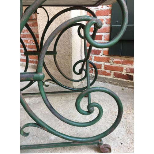 19th Century French Marble Pastry Baker's Table Art Nouveau Green Pâtisserie For Sale - Image 4 of 13