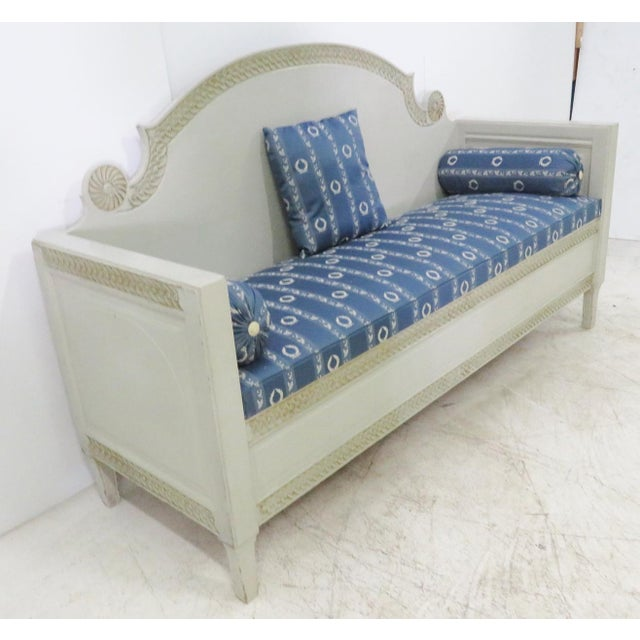 Early 20th Century Shabby Chic Swedish Gray Carved Sofa For Sale - Image 5 of 10