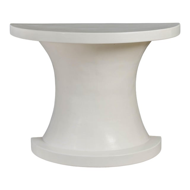 Diva Half Round Table - Cream Lacquer by Robert Kuo, Hand Repousse, Limited Edition For Sale