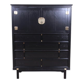 Tamerlane Collection Hollywood Regency Chinoiserie Ebonized Gentleman's Chest, Newly Restored For Sale