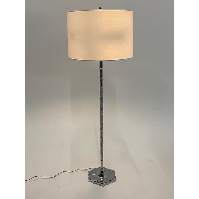 Mid-Century Modern Chrome Faux Bamboo Floor Lamp For Sale - Image 12 of 12