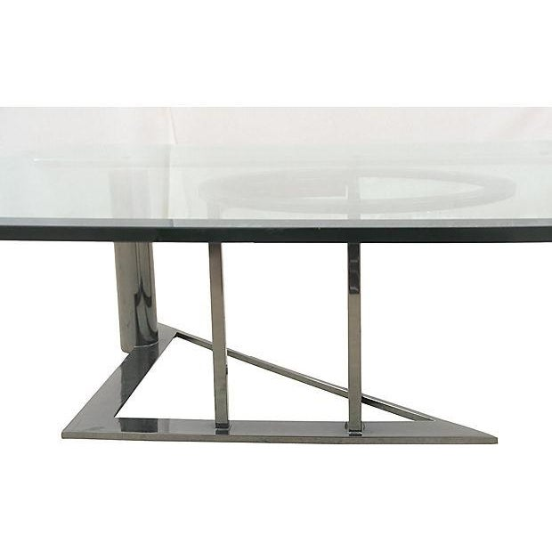 Modernist Glass & Chrome Coffee Table - Image 4 of 6