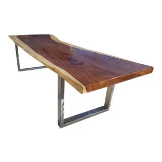Solid Slab Acacia Wood Dining Table