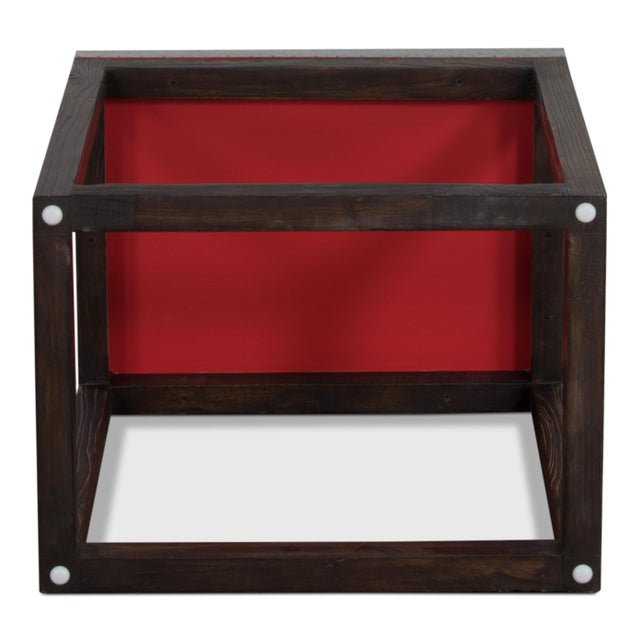 "Sarreid Ltd. Rectangular ""Hot Chocolate"" Elm & Zinc Lamp Table For Sale - Image 4 of 8"