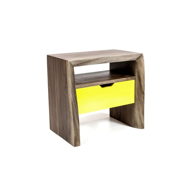 Live Edge Nightstand with Yellow Drawer - Image 4 of 8