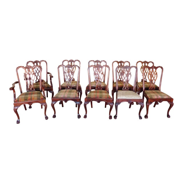 1990s Reproduction Solid Mahogany Chippendale Style Dining Chairs - Set of 10 For Sale