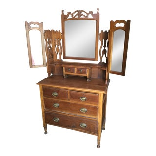 19th Century Art Nouveau Solid Cherry Princess Dresser