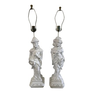 Vintage Chinoiserie Figurine Lamps - Pair For Sale